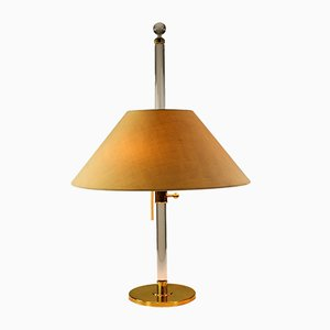 Modernist German Brass, Fabric, and Lucite Table Lamp from Vereinigte Werkstätten Collection, 1970s