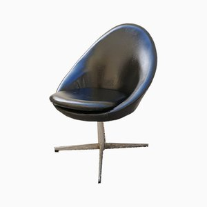 Mid Century Danish Black Swivel Egg Chair from Kanari, 1970s
