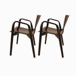 Italienische Armlehnstühle aus Holz von Vico Magistretti für Depadova, 1990er, 2er Set