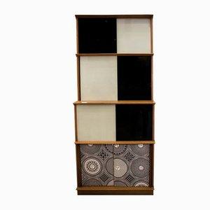 Alacena de madera y cristal de Murano de Fornasetti, años 70