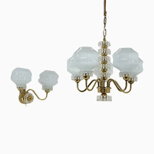 Chandelier & Wall Lamp from Kamenický Šenov, 1970s, Set of 2