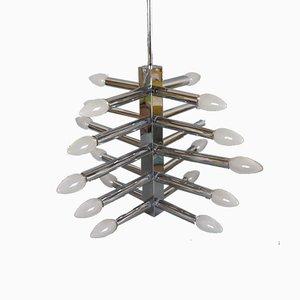 Lámpara de techo de cromo y metal, años 60