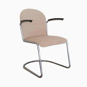 Armlehnstuhl mit Stoffsitz & Metallgestell von Willem Hendrik Gispen für Gispen, 1960er