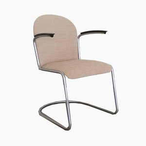 Vintage Model No. 413 Fabric & Metal Armchair by Willem Hendrik Gispen for Gispen, 1960s