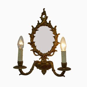 Luces de pared alemanas antiguas hechas a mano con espejos. Juego de 2