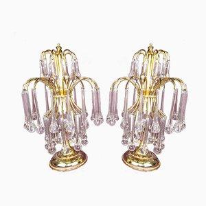 Italienische Tischlampen aus Chrom & Muranoglas von Paolo Venini, 1970er, 2er Set