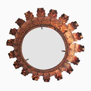 Espejo en forma de sol vintage dorado de hierro forjado, años 60