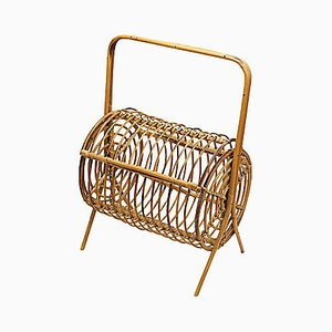 Vintage Wicker Magazine Rack, 1940s