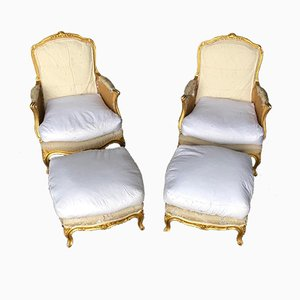 Antique French Bergere Armchairs & Stools, Set of 2