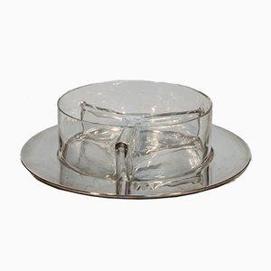Tablett für Vorspeisen aus Stahl & mundgeblasenem Glas, 1960er