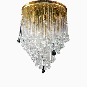 Lámpara de araña italiana de cristal de Murano de Paolo Venini, años 60