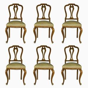 Italienische Stühle aus Nussholz, 1940er, 6er Set