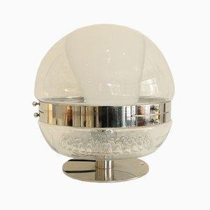 Lámpara de mesa vintage de cristal de Murano y cromo, años 70