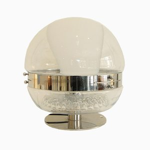 Vintage Murano Glass & Chrome Globe Table Lamp, 1970s