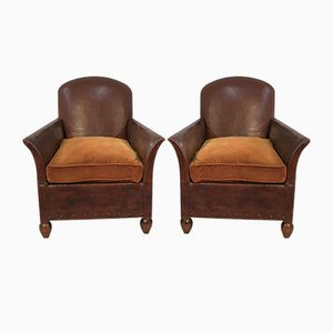 Leather Club Armchairs, 1920s, Set of 2