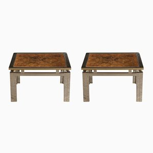 Modernist Geometric Brass & Burled Wood Side Tables, 1960s, Set of 2