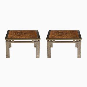 Tables d'Appoint Modernistes Géométriques en Laiton & Broussin en Bois, 1960s, Set de 2