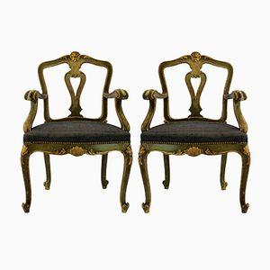 Antique Venetian Armchairs, 1800s, Set of 2