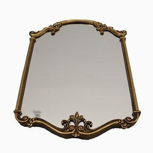 Mid-Century French Brass and Glass Mirror, 1950s