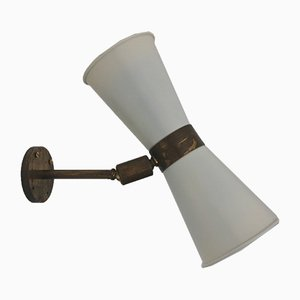 Mid-Century Wandlampe aus Messing & Aluminium für Solec, 1954