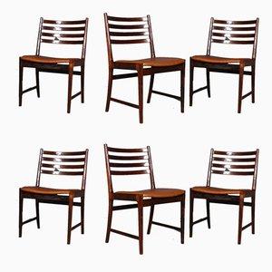 Chaises de Salon en Palissandre et Cuir Aniline Cognac par Kai Lyngfeldt Larsen, 1960s, Set de 6