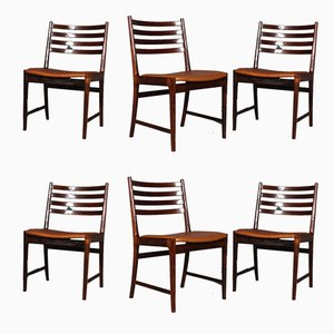 Rosewood & Cognac Aniline Leather Dining Chairs by Kai Lyngfeldt Larsen, 1960s, Set of 6