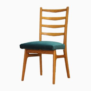 Danish Teak and Velour Dining Chairs, 1970s, Set of 4