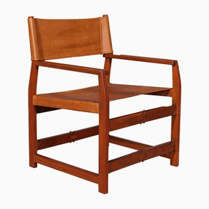 Sedia nr. 413 in teak e pelle color cognac di Kai Winding, anni '60