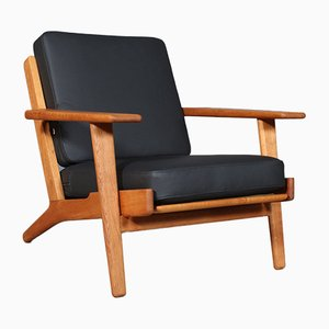 Vintage Modell 290 Sessel aus Eichenholz & Büffelleder von Hans J. Wegner