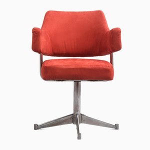 Steel and Alcantara Swivel Chair, 1970s