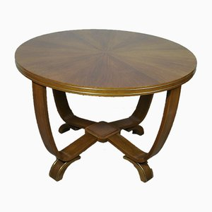 Round Mid-Century Cherry & Beech Coffee Table
