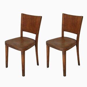 Sedia da pranzo vintage in legno curvo di Thonet, set di 2