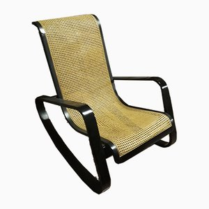 Wood & Straw Rocking Chair by Luigi Crassevig, 1970s