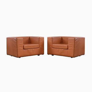 Italian Leather Throwaway Lounge Chairs by Willie Landels for Zanotta, 1980s, Set of 2