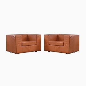 Italienische Throwaway Lounge Stühle aus Leder von Willie Landels für Zanotta, 1980er, 2er Set