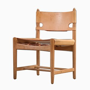 Scandinavian Modern Danish Leather and Oak Side Chair by Børge Mogensen for Fredericia, 1960s