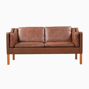 Scandinavian Modern Leather 2212 Sofa by Børge Mogensen for Fredericia, 1970s