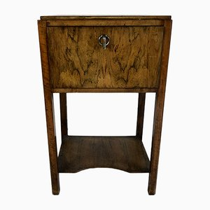Art Deco Walnut and Veneer Nightstand, 1930s