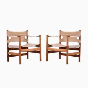 Scandinavian Modern Danish Safari Chairs by Børge Mogensen for Fredericia, 1950s, Set of 2