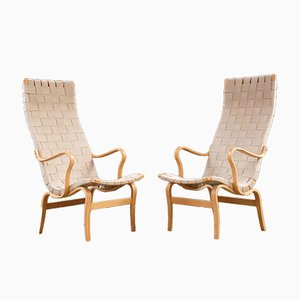 Scandinavian Modern Eva Lounge Chairs by Bruno Mathsson for Firma Karl Mathsson, 1970s, Set of 2