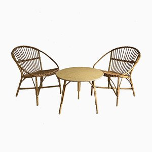Mid-Century French Rattan Living Room Set, 1960s, Set of 5