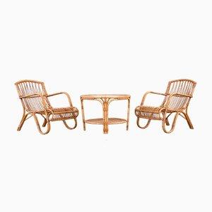 Set da salotto in vimini di Elvin Geertsen, Danimarca, anni '50