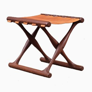 Danish Wenge Guldhoj Folding Stool from Hundevad & Co., 1960s