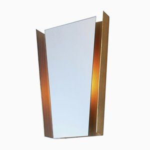 Brass, Iron, and Mirrored Glass Mirror by Mathieu Matégot for Artimeta, 1950s