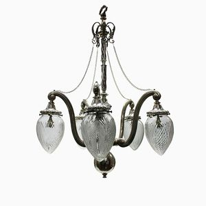 Antique Brass and Cut Glass Chandelier