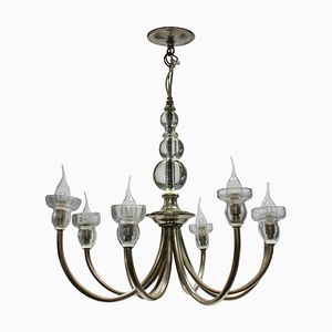 French Glass, Metal, and Silver Plating Chandelier, 1950s