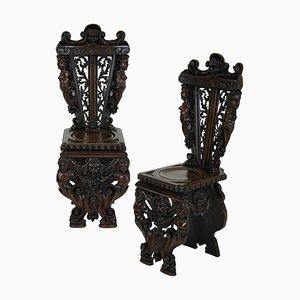 Antike italienische Beistellstühle aus Holz & Nussholz, 2er Set