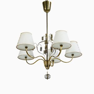 Brass Chandelier by Paavo Tynell for Oy Taito Ab, 1940s