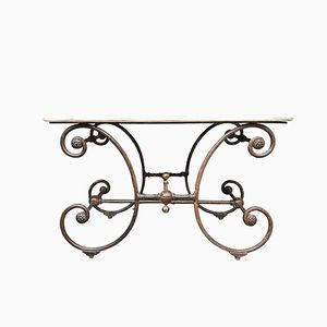 Antique French Metal & Marble Console Table
