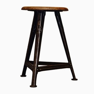 Industrial German Metal and Wood Stool by Robert Wagner for Rowac, 1930s